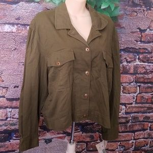Olive Green Button Down Denim Jacket